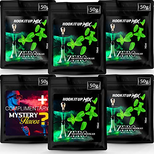 Hookah Flavors Tobacco Free and Nicotine Free. 5 Mint Hookah Shisha Flavors + 50g Mystery Flavor. Mint Herbal Molasses by Hook IT UP. (Pack of 6) 300g 10.5oz Total