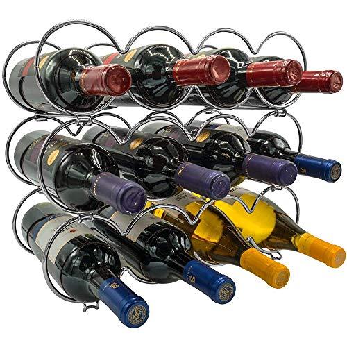 YWYW Botellero de Metal apilable de 3 Niveles para Botellas, Bar, Bodega, sótano, Armario, Capacidad para 12 Botellas, Plateado