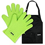 FERS BBQ Cooking Silicone Gloves Mitts & Apron Set   Barbecue Grill Gloves with Nifty Black Apron - Multiple Pockets & Adjustable Straps (Green)