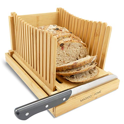 MAGIGO Bamboo Foldable Bread Slicer with Crumb Catcher Tray, Bread Slicing Guide and Knife Rest for...