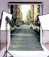 Assanu 有名な街の通り風景背景3 x 5FTビニール細い写真背景写真背景ニューヨーク道路自動車建物シーン1(w)x 1.5(h)mスタジオの小道具