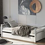 Giantex Wood Daybed with a Trundle, Twin Trundle Daybed with Durable Slat Support, Easy Assembly - No Box Spring Needed, Standard Twin Bed Sofa for Living Room Guest Room Children Room (White)