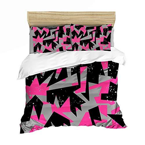 Bettbezug-Set und bunte, abstrakte geometrische Form, dekoratives Bettwäsche-Set mit Kissenbezügen (A01, Einzelgröße 135 x 200 cm)