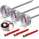 3 Pieces Instant Read Pocket Thermometer Milk Frothing Thermometer 1 Inch Stainless Steel Dial Thermometer with 3 Pieces Calibration Sleeves for Coffee Drinks Chocolate Milk Foam