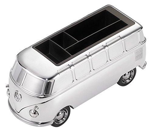 TROIKA VW Bulli — GAP06/CH (T1, Samba Bus, 1962) – Stifteköcher – Fach für Smartphones + Visitenkarten – Magnet – 5 Büroklammern – Rückziehmotor – glänzend – Official licensed product by Volkswagen