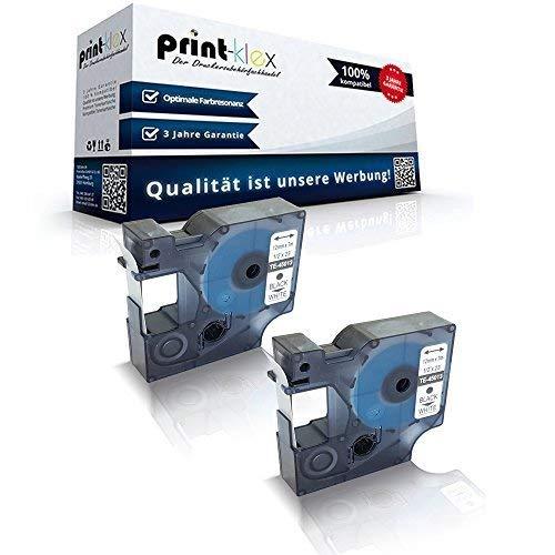 2x Kompatible Schriftbänder für Dymo D1 45013 Labelwriter400Duo Dymo 1000 1000 Plus 2000 3500 5500 Labelmaker 4500Pocket S0720530 12mm x 7m schwarz-weiss Etikettenlabel - Easy Print Serie