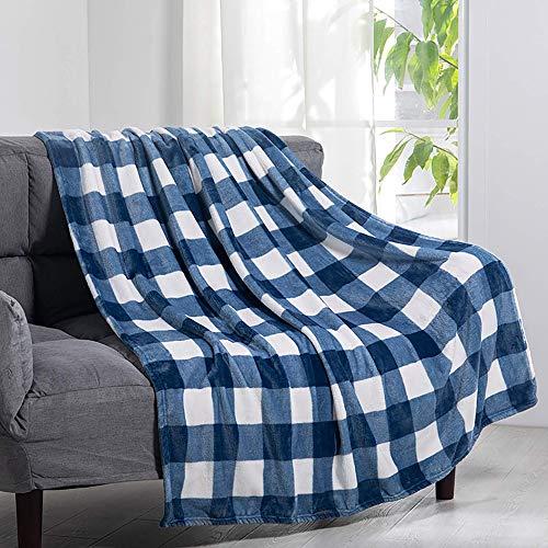 XHNXHN Colcha de Franela a Cuadros Blancos y Azules para sofá y Cama 59.05'x78.74