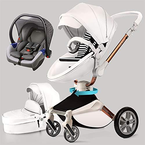 Hot Mom Silla de paseo Reversibilidad rotación multifuncional de 360 grados con buggy asiento y capazo 2020 Nueva actualización (Blanco)