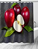 YEDL Obst Apfel Duschvorhang Moderne Stoff Badvorhänge Home Decor Gardinen 180 × 180Cm