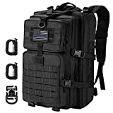 Hannibal Tactical 36L MOLLE Assault Backpack, Tactical Backpack Military Army Camping Rucksack, 3-Day Pack Trip w/USA Flag Patch, D-Rings, Black
