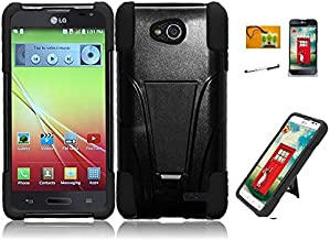 LF 4 in 1 Bundle Accessory - Black Hybridy Dual Layer Case with Stand, Stylus, Screen Protector & Wiper for (T-Mobil, MetroPCS) LG Optimus L90 (Stand Black / Black)