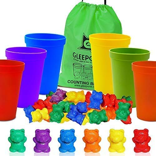 Gleeporte Counting Bears with Coordinated Sorting Cups | Sorting, Math Skills | (67 Pcs Set) | 60 Bears | 6 Cups | Storage Bag, Ages 4+