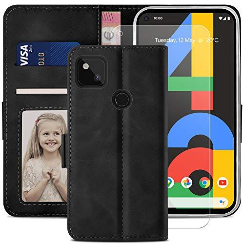 YATWIN Funda Google Pixel 4A 4G, Cuero Premium Flip Folio Carcasa para Google 4A 4G, Bloqueo RFID, Soporte Plegable, Ranura para Tarjeta, Cierre Magnético, Funda Libro para Google 4A 4G, Negro
