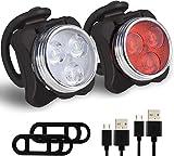 VAGAVDirect - Juego de luces LED recargables para bicicleta de montaña y carretera (2 cables, 2 correas)