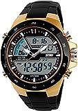 Men's Analog Digital 50M Waterproof Sports Watch Military Multifunction Stopwatch Alarm Backlight Gold Watch (0_Gold)