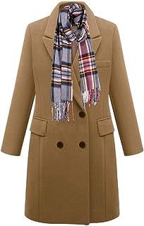 XQS Womens Overcoat Woolen Autumn Belt Trench Coat Winter Peacoat