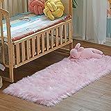 DAOXU Piel de Imitación,Cozy sensación como Real, Alfombra de Piel sintética Lavable para sofá o Dormitori (Rosa, 50x150cm)