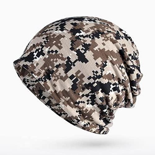 BUXIANGGAN Gorro Beanie Sombrero Turbante Sombrero Camuflaje Beanie Medias Sombreros para Mujeres Hombres Gorra Holgada Hip Hop Sombrero Mujer Skullies Gorros Bufanda Capó Caqui