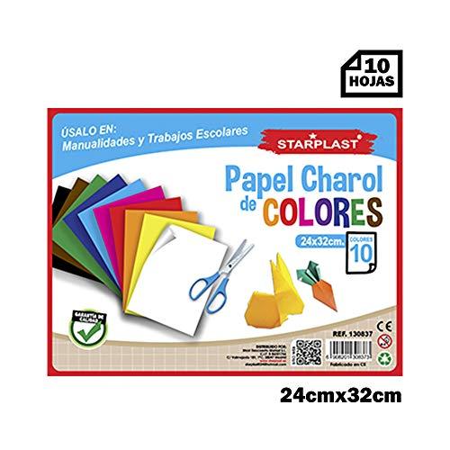 Starplast, Bloc de papel Charol, 10 Hojas 24x32cm, para manualidades, dibujo, diseños,etc. 10 colores