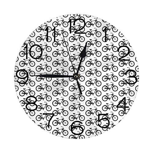 Reloj de pared redondo de bicicleta Cruiser reloj de pared grande decorativo con números redondos para decoración del hogar para sala de estar (25 cm)