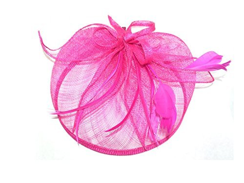 Large looped Pink Hessian Hatinator on a Clip Wedding Races Prom