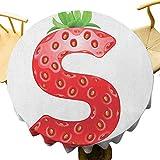 VICWOWONE - Mantel redondo de 35 pulgadas para camping, semillas de fresa y hojas verdes, planta orgánica, realista, sensación cálida, verde, naranja