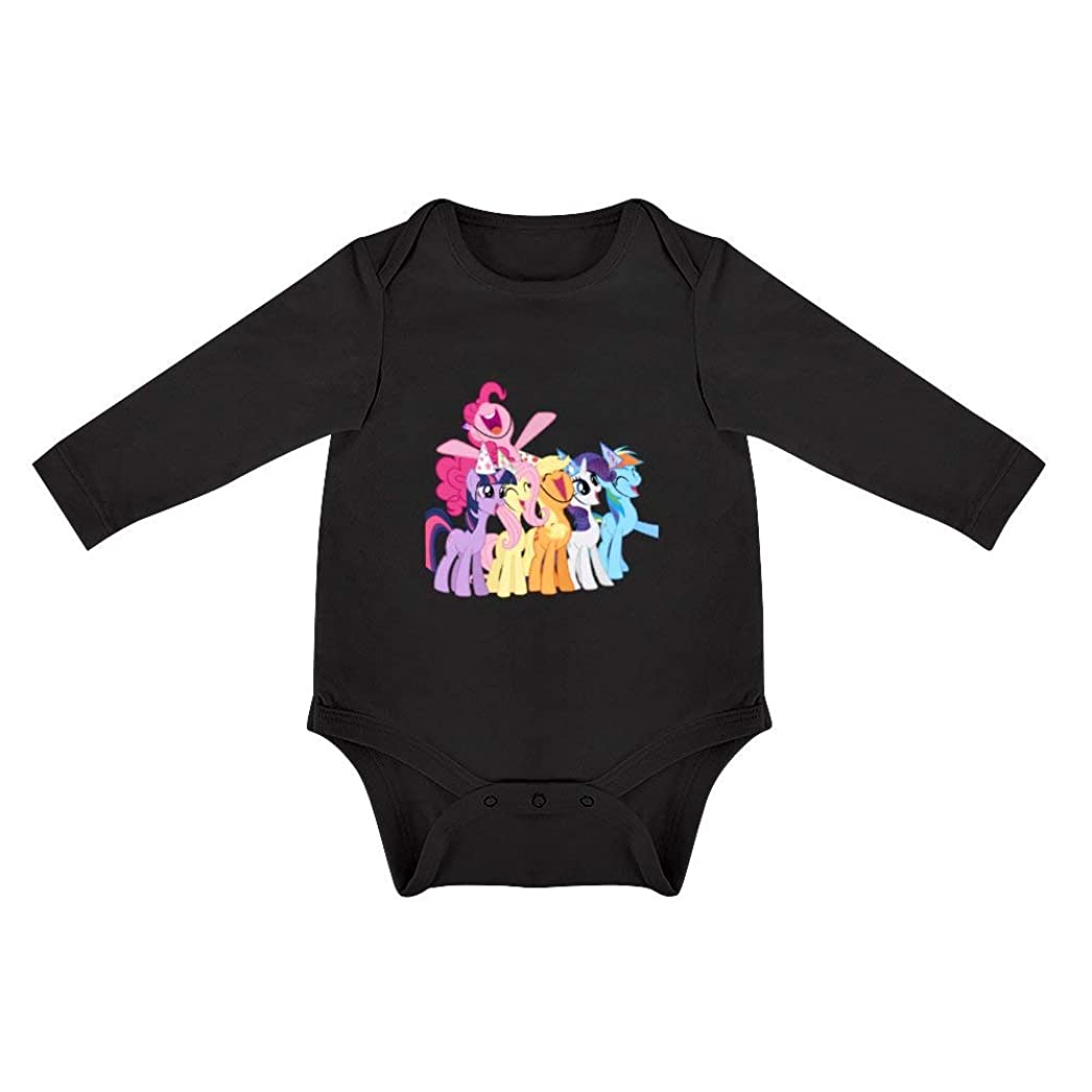 素子ギャザー軽減my little pony!夏 ベビー服 半袖ボディースーツ ロンパース コットン100% (ホワイト 3-18Months)