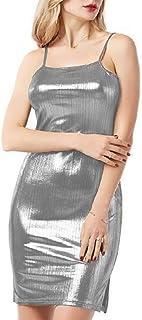 S-Fly Womens Soft Strap Spaghetti Bodycon Slit Club Sexy Metallic Mini Dress