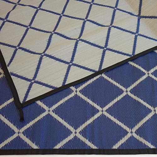 Zeltteppich ´´´odooro WAVETEX Diamond 2,7m x 5m blau-grau *** 400 g/m² Outdoor Teppich Vorzelt Teppich Garten Spieldecke