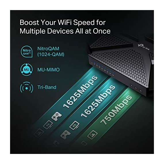 TP-Link AC4000 Smart WiFi Router - Tri Band Router , MU-MIMO, VPN Server, Antivirus/Parental Control, 1.8GHz CPU… 8 JD Power Award ---Highest in customer satisfaction for wireless routers 2017 and 2019 4K video, streaming, gaming is no problem for the A20 with incredible AC4000 tri band speeds Top of the line 1.8 GHz 64 Bit processing to smoothly process multiple requests and accelerate loading Times
