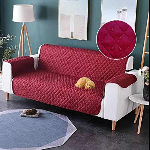 Dido´s Funda de sofá Impermeable, Protector para Sofás Acolchado, Protección para Mascotas, Funda de sofá Anti-Suciedad, Cubre sofá Antideslizante para Perros (Rojo, 53 X 183 cm 1 Plaza)