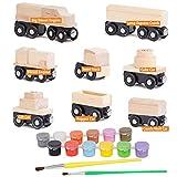 Orbrium Toys 8 coches de tren sin pintar para ferrocarril de madera, compatibles con Thomas, Chuggington, Brio, paquete de 8, 10 piezas, ideal para fiestas de cumpleaños