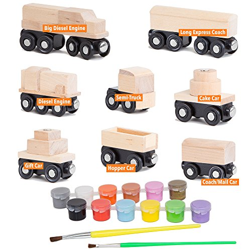 Orbrium 8 Unpainted Train Cars with 12 Colors Paint and Paint Brushes Set for Wooden Railway Compatible with Thomas, Chuggington, Brio, Great for Birthday Party Train Theme