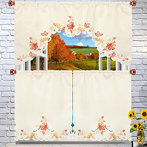Grelucgo Embroidered Fall Leaves Kitchen Window Swag and Tiers Curtain Set for Thanksgiving