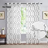 White Grey Sheer Curtains for Nursery Kids Bedroom 63' Moroccan Lattice Embroidered Curtains Drapes Linen-Textured Light Filtering & Breathable Grommet Window Curtain Set for Parlor 52' W 1 Pair
