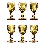 EME Mobiliario Copa de Cristal Tallado Picos en Color ámbar Naranja Set 6 Unidades
