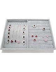 Padom Jewelry Tray Organizer, Necklace Pendant Organizer Watch Storage Rings Earrings Bracelet Organizer Tray Showcase Display Velvet Stackable Jewelry Storage