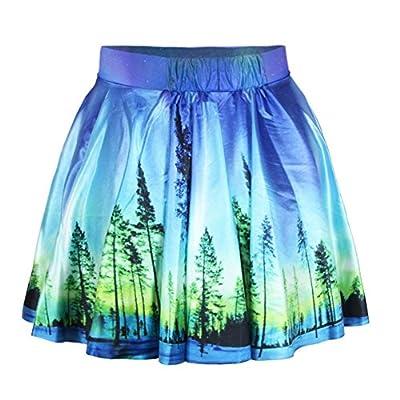 FRTCV Women's 3D Print Party Flared Pleated Skirt Stretchy Short Mini Skater Skirt for Teen Girls