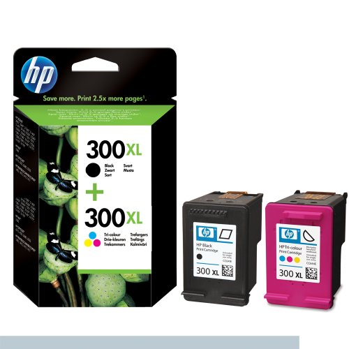 Hewlett Packard No.300xl Combo Original HP Tintenpatronen, 2-er Set mit 1 x schwarz/farbige