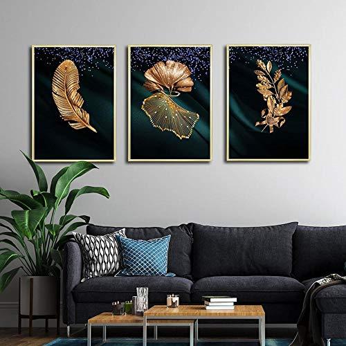 BIANWENSUAI Gouden Veer Poster Olijf Tak Canvas Schilderij Ginkgo Muur Art Fotos voor Woonkamer Thuis Decoratieve 42x62cmx3 Unframed
