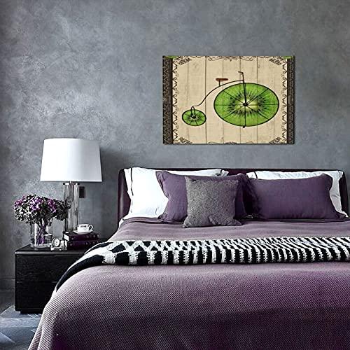NINEHASA Wall Art On Canvas,Antique Frame Illustration Fruit Wheel And Kiwi Abstract Retro Bike,Framed Prints for Bathroom Living Room Bedroom Home Decor Ready To Hang 30x45cm