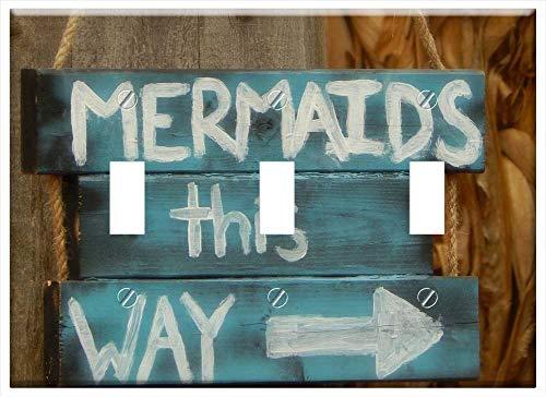 Switch Plate Triple Toggle - Mermaids Sign Whimsical Fantasy Sea Mythology
