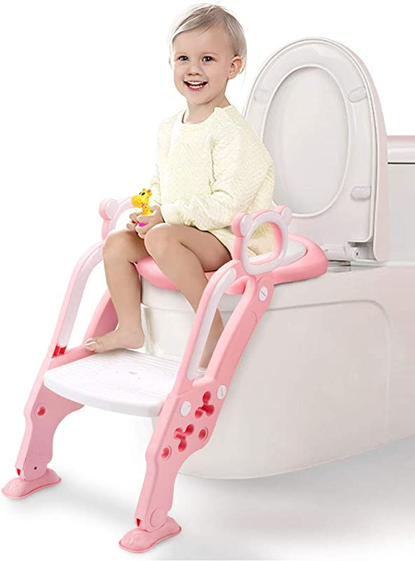 GrowthPic Toddler Toilet Training Seat Ladder With Sturdy Non Slip Wide Step And Soft Cushion For Girls