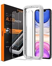Spigen, 2 stuks, Screenprotector compatibel met iPhone 11 / XR, AlignMaster, Frame voor eenvoudige installatie, Case friendly, 9H gehard glas, iPhone 11 / XR Screen Protector