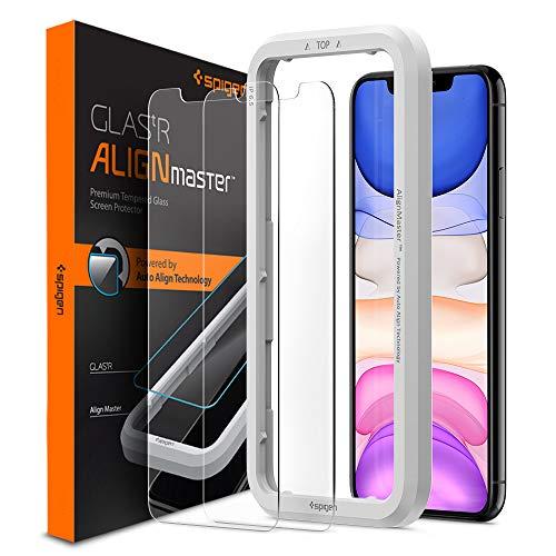 Spigen AlignMaster Panzerglas kompatibel mit iPhone 11, iPhone XR, 2 Stück, Kratzfest, 9H Härte Schutzfolie