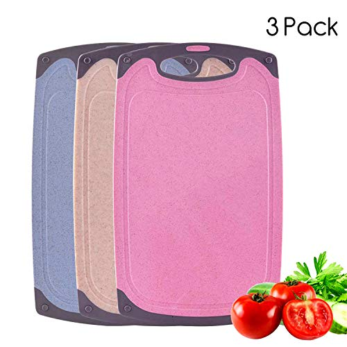 BOCHION Farbkodierte Schneidebretter Set BPA-frei Antibakterielle Kunststoff Küchenbretter Spülmaschinenfeste Frühstücksbretter Hackbretter 21x 0,7X 35 cm