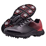 THESTRON Men Golf Shoes Professional Waterproof Spikes Golf Sport Sneakers … Black/Red