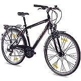 KCP 28 Zoll City Bike - Estremo Gent - Herren Trekkingfahrrad mit 21 Gang Shimano Tourney Kettenschaltung und Nabendynamo, bequemtes Tourenfahrrad für Männer