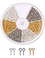 600 dozen/doos met ijzeren bevestigingspennen met schroefoog, 10 mm x 4 mm x 1 mm, 2 mm gaten, semi-diamanten kralen voor het maken van sieraden (goud/zilver/platina)