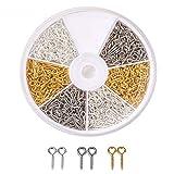 600 pz/scatola Viti a Occhiello, 10 mm x 4 mm x 1 mm, foro 2mm, semilavorati perline creazione di gioielli (Oro/argento/Platino)